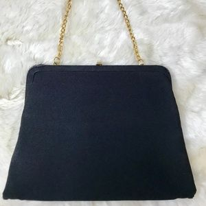 Vintage Black Bow 50s Purse Rockabilly Bag 1950s